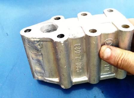 Сварка в аргоне алюминиевого блока мойки высокого давления